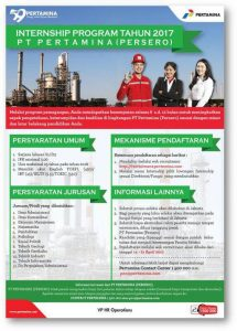 INTERNSHIP PROGRAM 2017 PT PERTAMINA (PERSERO)