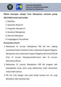 Lowongan Kerja Tutor Manajemen Semester Genap 2017/2018
