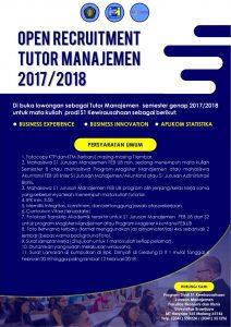 Lowongan Tutor Matakuliah Prodi S1 Kewirausahaan Semester Genap 2017/2018